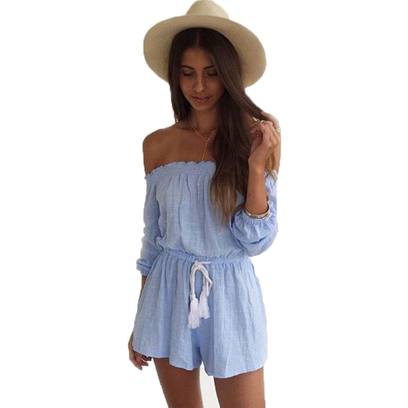 cute rompers summer short women rompers bohemian cute solid short sashes elegant  jumpsuit off the shoulder ASMOOQM