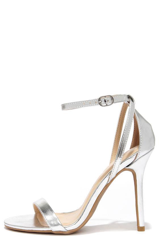cute silver heels - ankle strap heels - $22.00 HCEDYZN