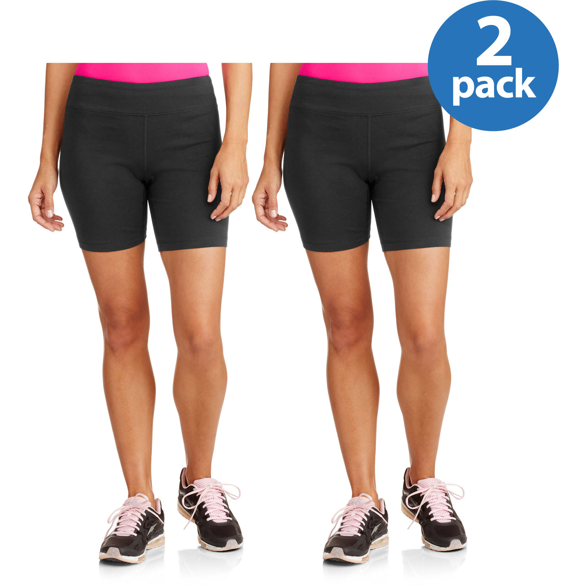 danskin now womenu0027s dri-more core bike shorts, 2-pack - walmart.com WDLSWYY