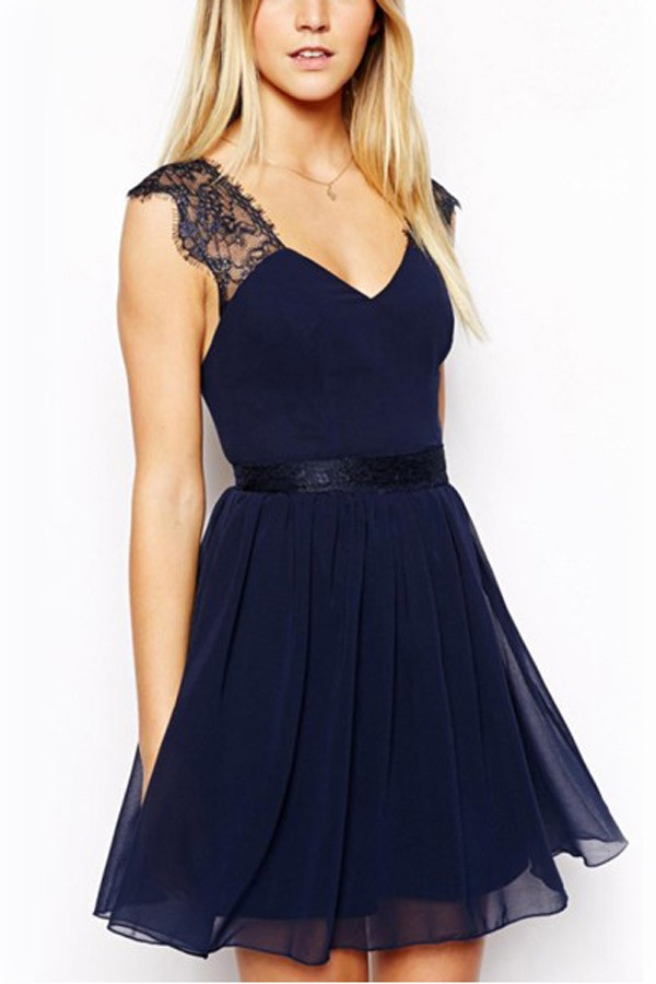 dark blue lace backless chiffon dress. loading FIBQOSG