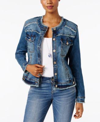 denim jackets for women inc international concepts frayed denim jacket, only at macyu0027s HBCJTDW