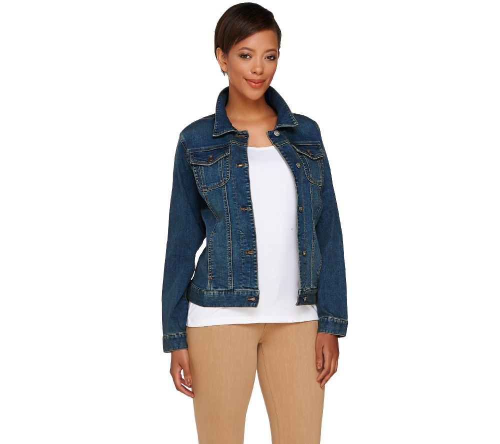 denim jackets for women women with control washed denim button front jean jacket - page 1 - qvc.com RMNYKOZ
