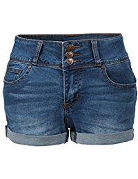 denim shorts for women le3no womens plus size fitted push up denim jean shorts with pockets HQALYJR
