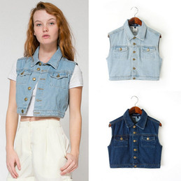 denim vest for women wholesale-denim vest women jeans gilet female casual sleeveless jacket  womens summer style vintage coat UPSMDBW
