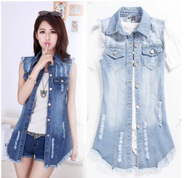 denim vest for women wholesale-high street denim vests waistcoat autumn -summer denim vest new  2015 blue jean jackets UJNEOON