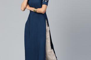 designer kurtis libas women navy solid straight kurta MMBAFAV