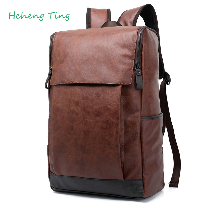 designer men stylish backpacks pu leather school bags for teenagers large  capacity vintage travel NHHZBHT