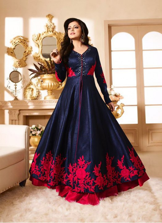 designer suits drashti dark blue u0026 magenta pure silk designer anarkali suit SEKUITR