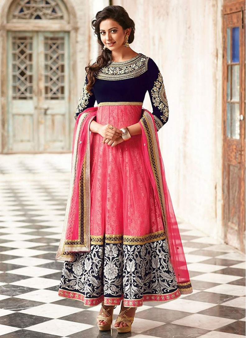 designer suits faux georgette patch border work pink designer suit ZJYODNS