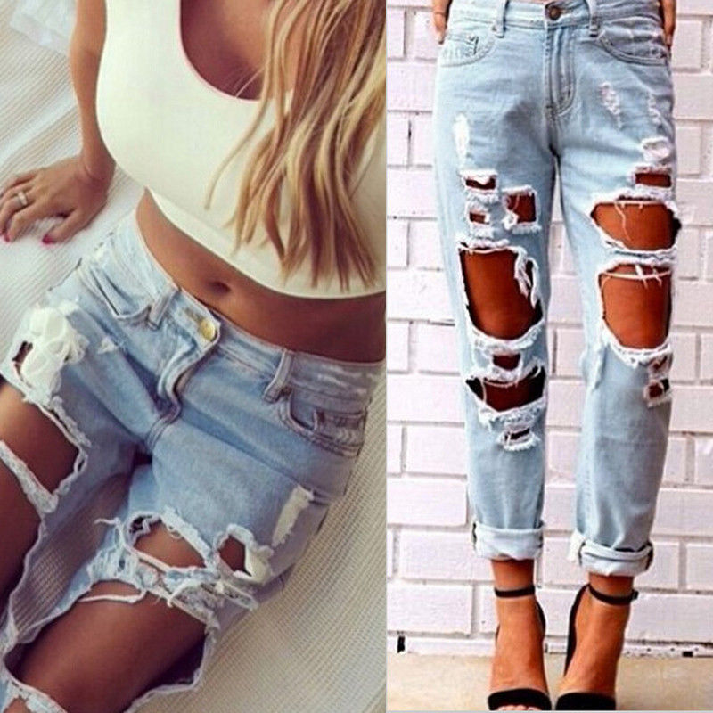 destroyed jeans aliexpress.com : buy sexy women destroyed ripped distressed slim denim  pants boyfriend jeans trousers IOLPMQT