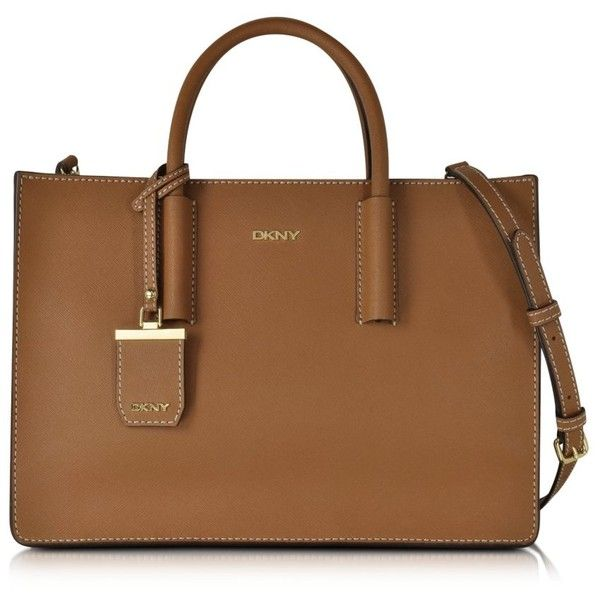 dkny handbags bryant park tan saffiano leather tote bag (6,170 mxn) ❤ liked  on HBKQRTT