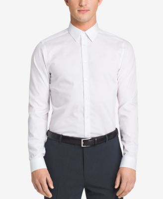 dress shirts calvin klein steel menu0027s slim-fit non-iron performance herringbone dress  shirt ZFUKVKC