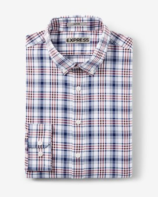 dress shirts ... fitted express tech plaid button-down dress shirt PCGAVYS