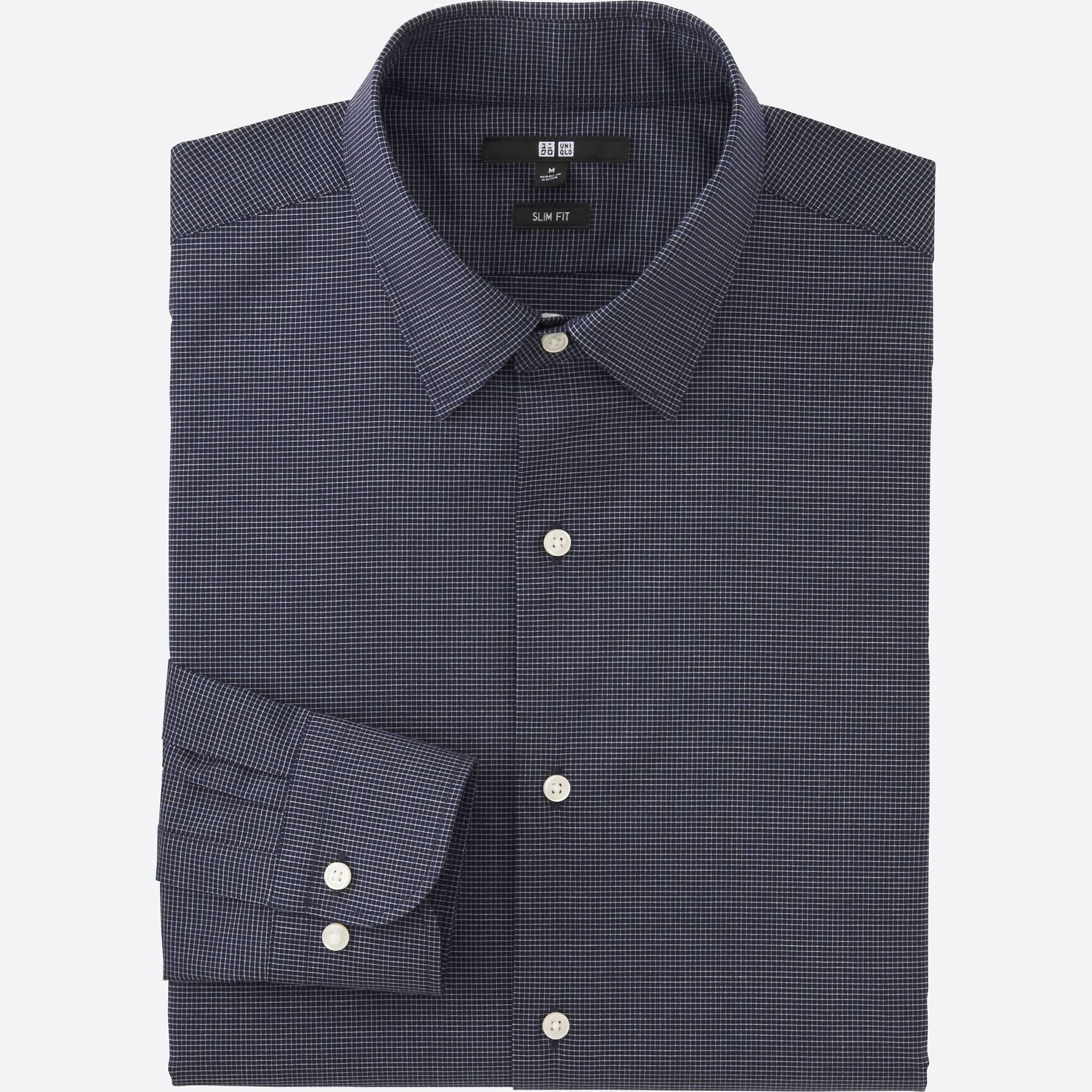 dress shirts men easy care slim-fit checked long-sleeve shirt, navy, small NDWDTFR
