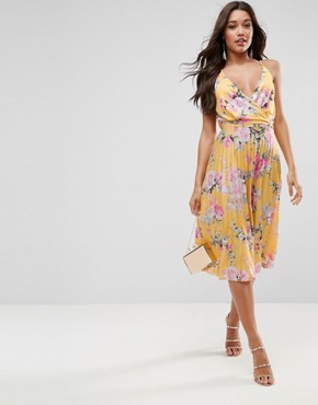 dresses for wedding guests asos blouson printed wrap midi dress with tie waist MRLILQI
