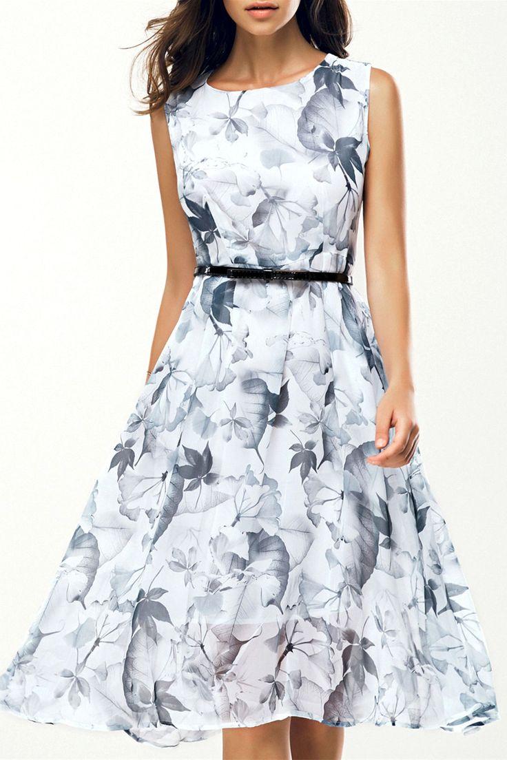 dresses for women $18.45 elegant jewel neck sleeveless floral belted dress for women ZQXQWVT