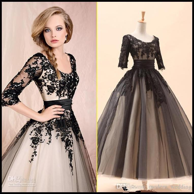 dresses for women 2016 new women white black party prom dresses with 3/4long sleeve a-line EOKPNHR