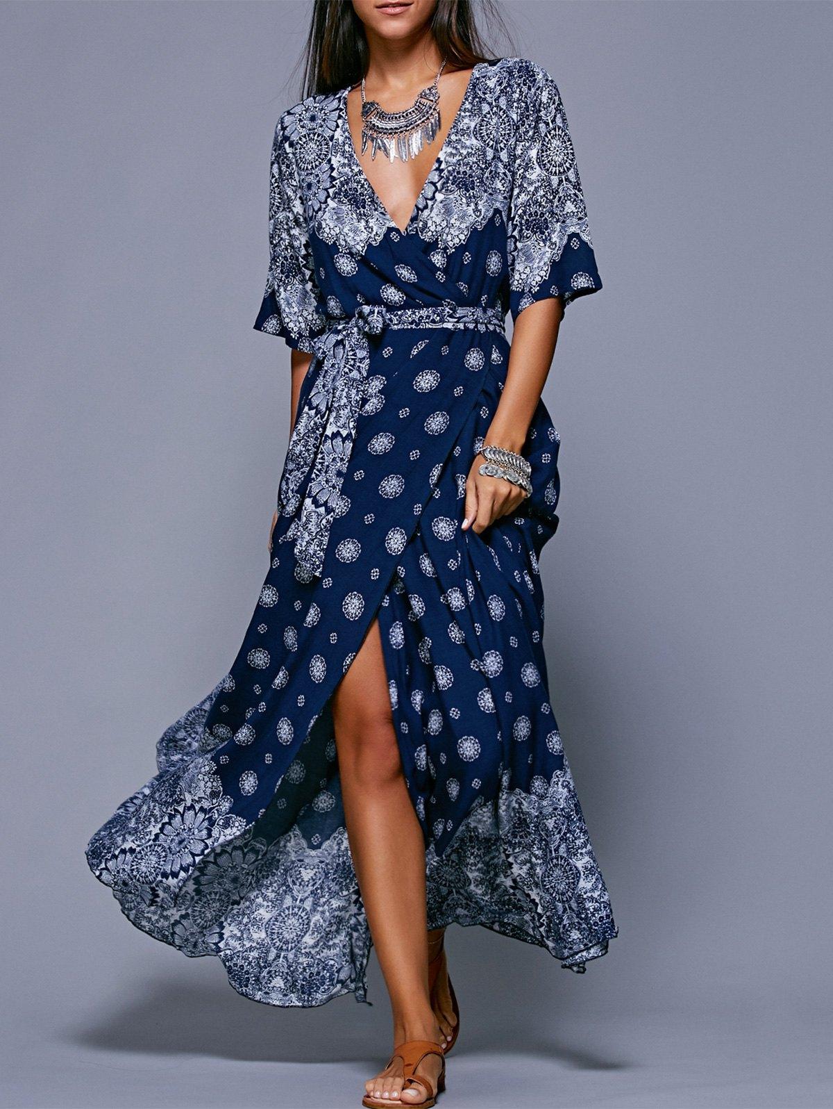dresses for women bohemian slit print long flowing wrap dress PJJKKVS