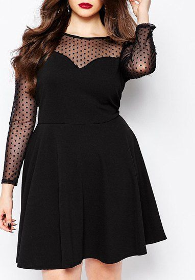 dresses for women chic round neck long sleeve see-through plus size dress for women YREGNMR