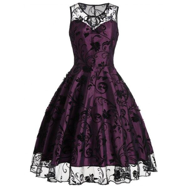 dresses for women homecoming floral tulle tea length sleeveless vintage dress - purplish red  2xl ZSPCUBO