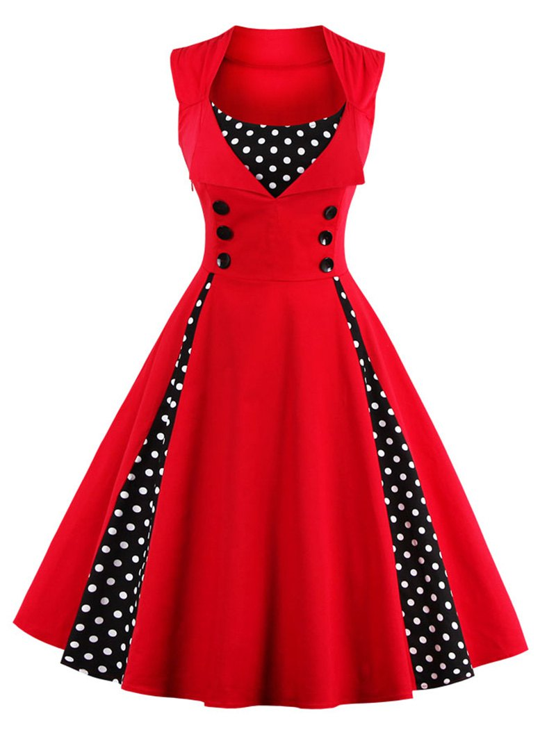 dresses for women midi polka dot prom rockabilly swing vintage prom dresses UWSEINL
