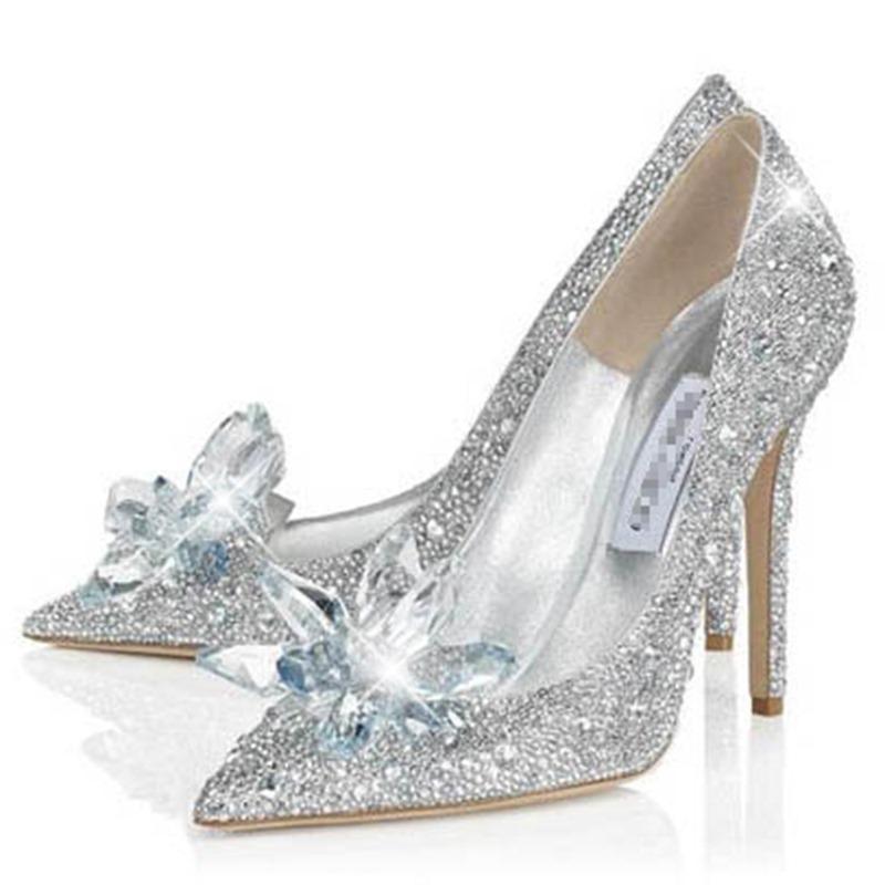 dresswe.com supplies glittering point toe crystal cinderella wedding shoes  prom shoes NKNBALU