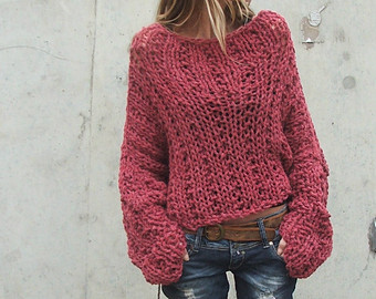 dusky redish pink chunky sweater / chunky sweater 3-4 left in this shade VLSRBCV
