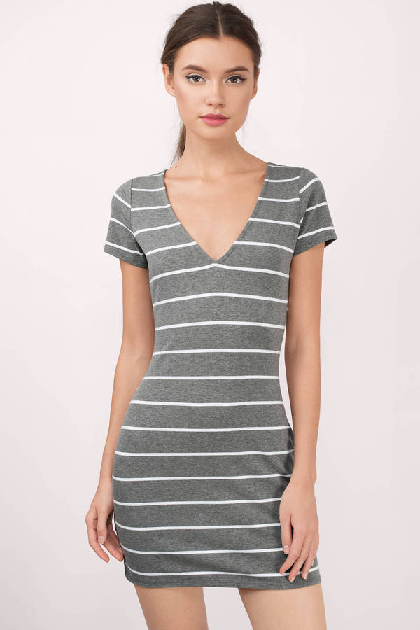 emili black and white striped t-shirt dress JNMLDTK