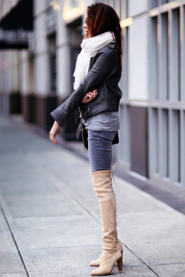 erica hoida demonstrates the versatility of thigh high boots, wearing a  pair of pale PRTZHQM