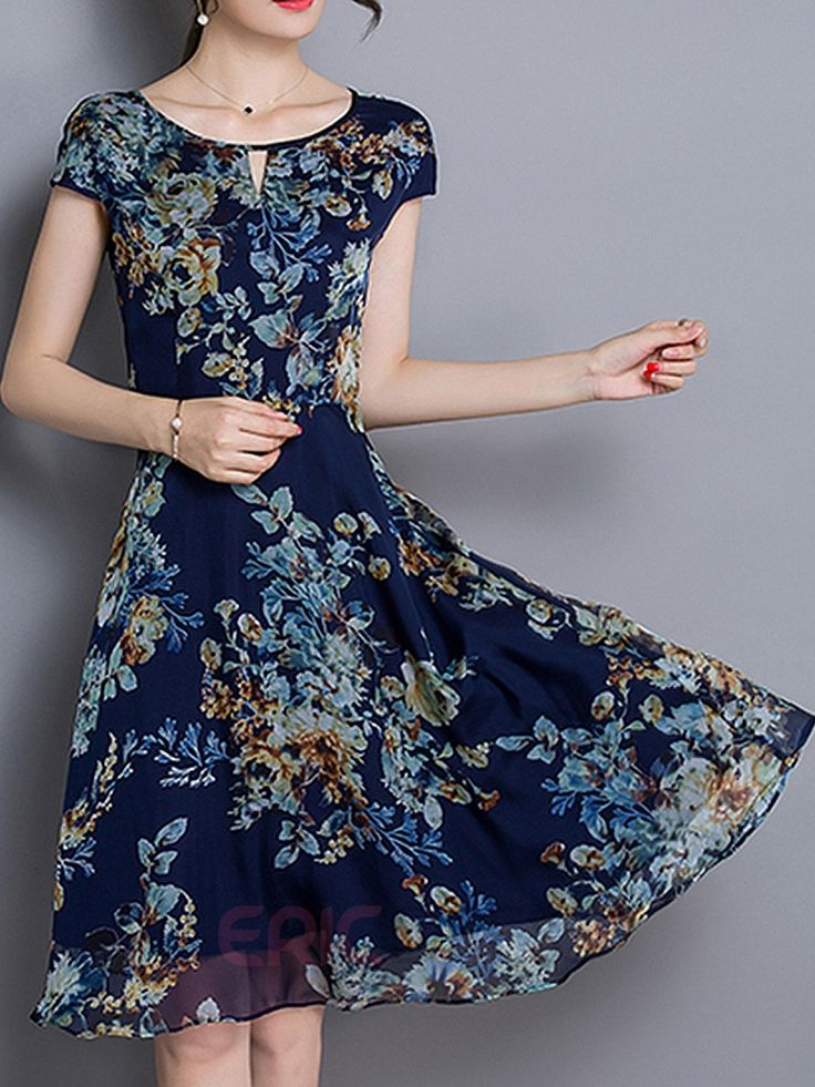 ericdress floral print short sleeve round neck hollow casual dress casualu2026 SMDAZRQ