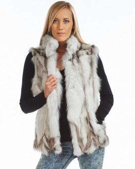 eugenie sectioned blue fox fur vest PYXLCMJ