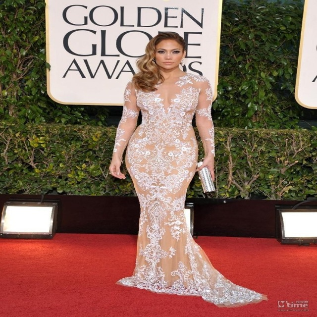 fashion 2016 embroidered mermaid celebrity dresses 2017 red carpet jennifer  lopez sexy lace sheer XUNAHVV