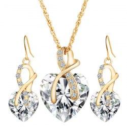 fashion jewelry faux diamond crystal rhinestone heart wedding jewelry set - white CGHTRLJ