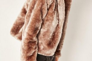 faux fur jacket brown hooded short faux fur coat FAOUXFB