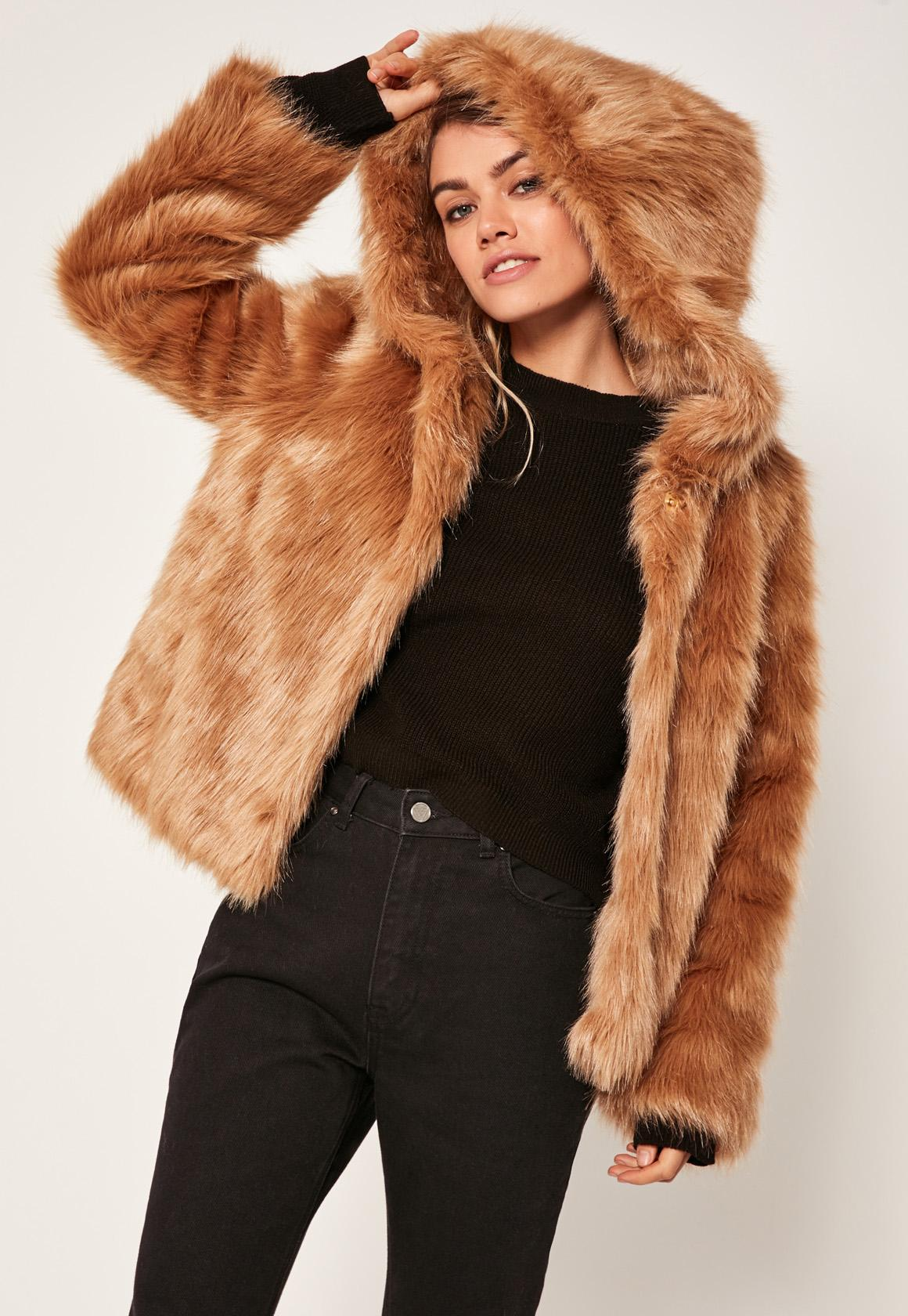 faux fur jacket camel hooded faux fur coat JPSJIZK
