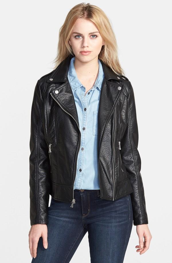 faux leather jacket guess shrunken faux leather moto jacket | nordstrom JGYVRTB
