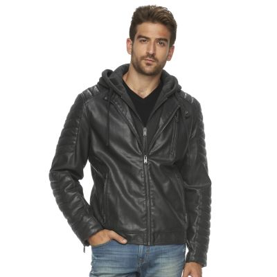 faux leather jacket menu0027s marc anthony slim-fit hooded faux-leather jacket IHYIUAW