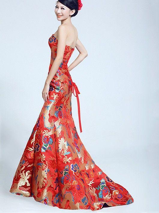 fishtail cheongsam / qipao / chinese wedding dress with dragon pattern LBBVDRF