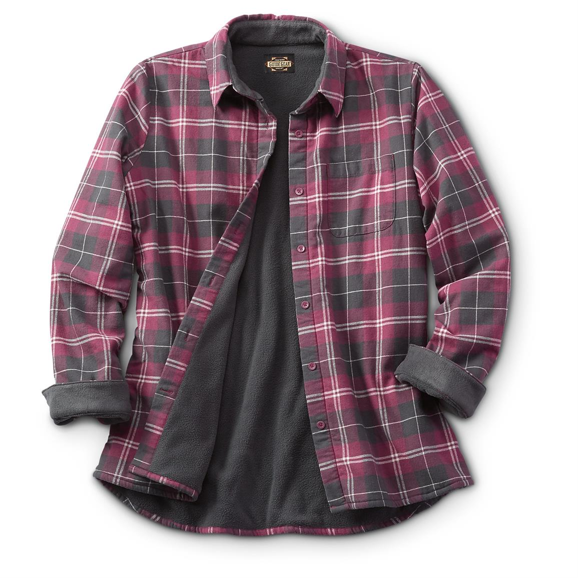 flannel shirts guide gear womenu0027s fleece-lined flannel shirt, wine GSBRFUJ