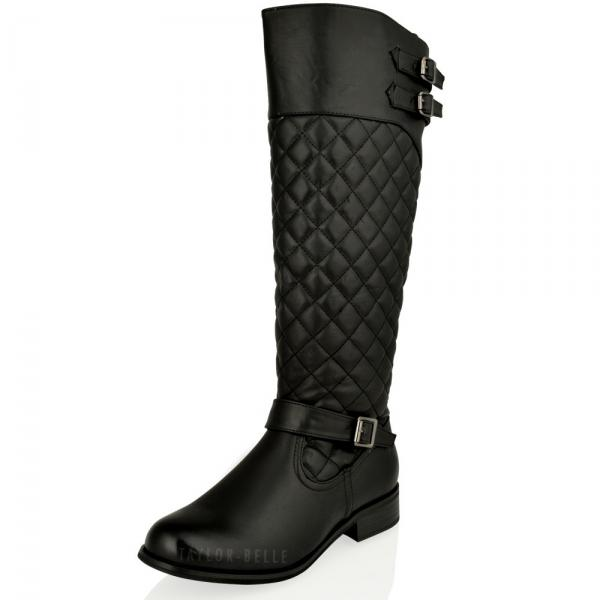 flat knee high boots womens-ladies-flat-knee-high-quilted-riding-black- TTVSDOJ