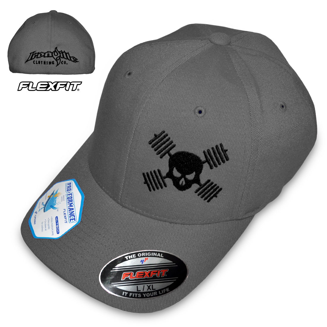 flexfit hats barbell skull hat powerlifting bodybuilding weightlifting | ironville  clothing CANAVWT