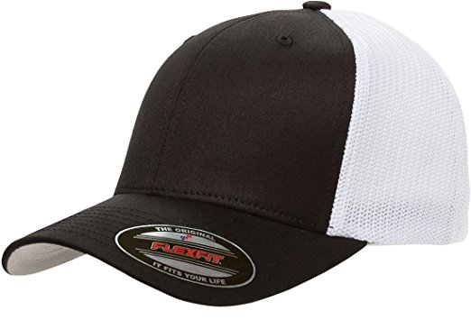 flexfit hats flexfit trucker cap. 6511 - black / white - one size JQLOBRR
