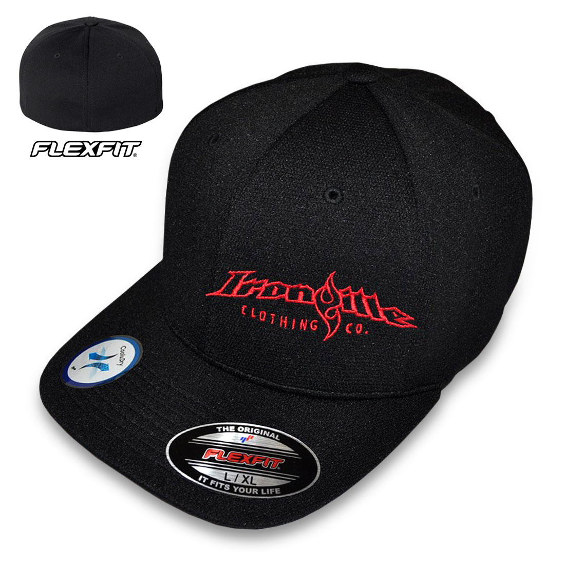 flexfit hats ironville flexfit cool and dry strongman hat black with horizontal logo NQXQTXK