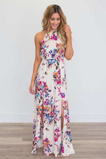 floral print dress shop our gardenia floral print maxi dress - ivory multi. featuring an  elastic waistline SNBXPQP
