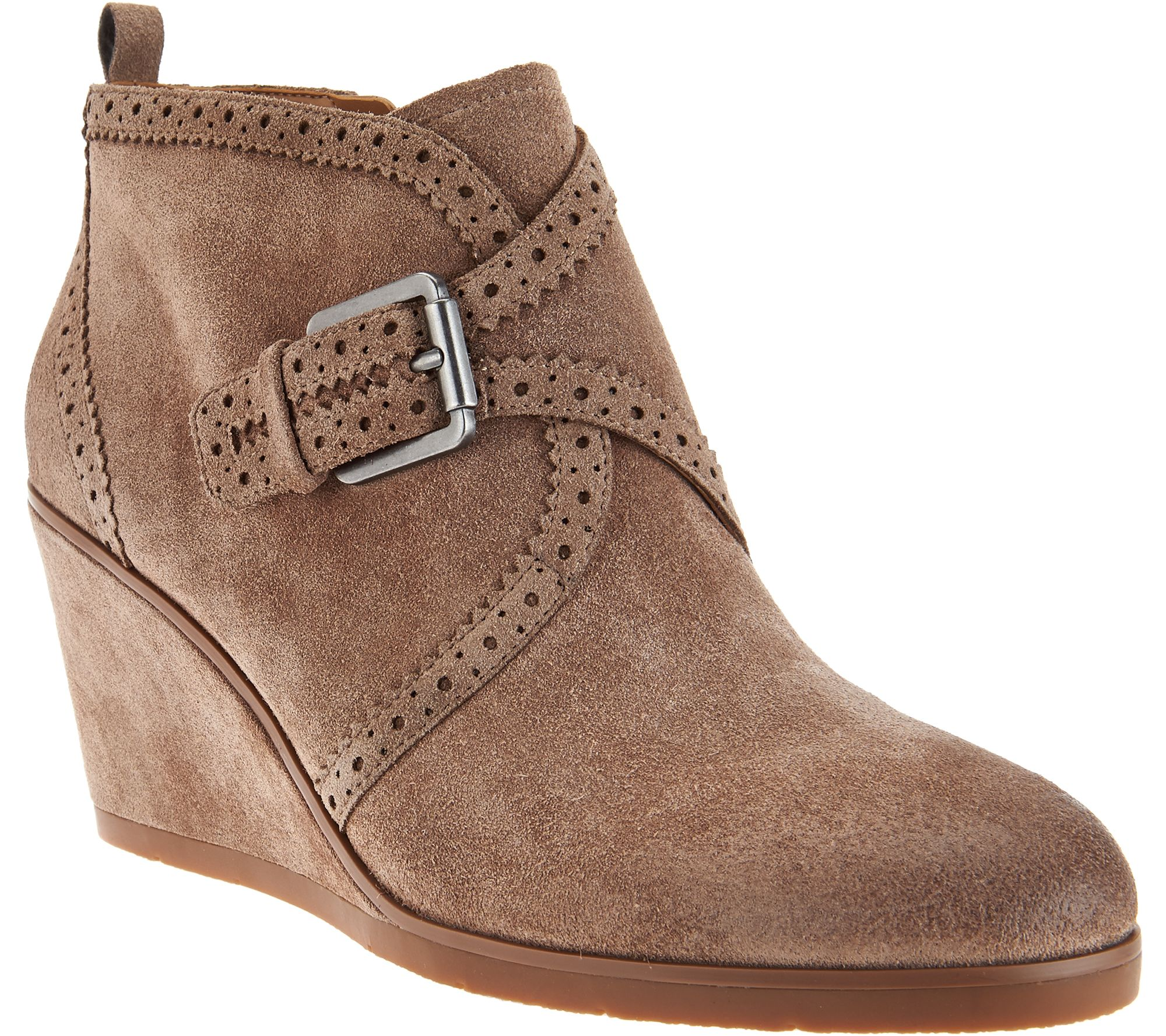 franco sarto boots franco sarto suede monk strap wedge boots - arielle - page 1 - qvc.com YHJXVAY