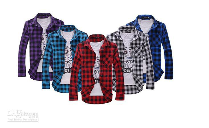 free shipping long sleeve plaid shirts for men turn-down collar shirt  fashion slim t TLQSZSK