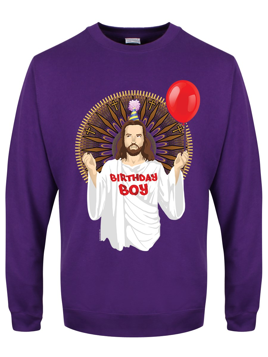 funny christmas jumpers birthday boy menu0027s purple christmas jumper ZVCOIMF