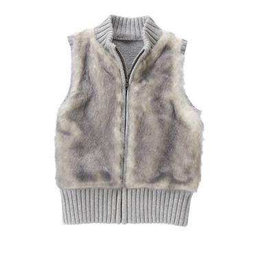 girls soft grey faux-fur vest by gymboree ZMYHNGE