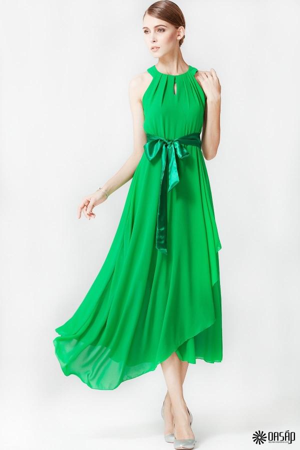 goddess irregular hem halter chiffon dress ZILKTNI