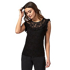 going out tops red herring - black lace yoke ruffled top LVRJTHC